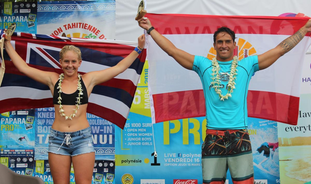 Taumata Puhetini and Gabriela Bryan Victorious at Papara Pro Open Tahiti